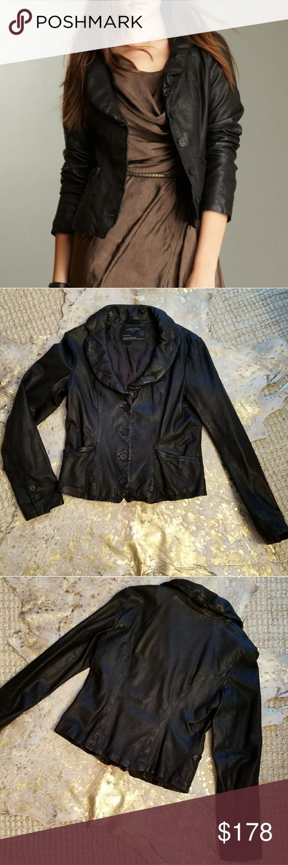 """Allsaints Ayala Leather Jacket Size 10 Excellent Used Condition  US Size 10 (UK Size 14) Color is black but in the right light it looks deep brown 😜 Such a great piece, timeless styling Measures Approximately, laid flat and buttoned: Armpit to Armpit: 19"""" Length: 23"""" All Saints Jackets & Coats"""