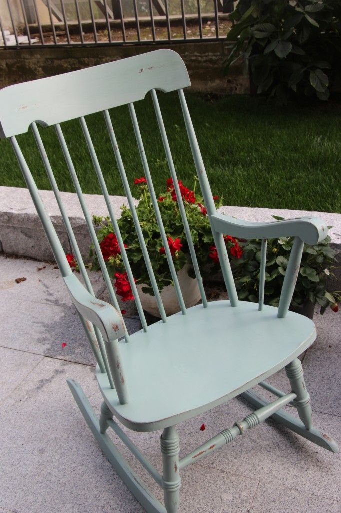 The Painted Rocking Chair using Annie Sloan Chalk Paint in Duck Egg Blue