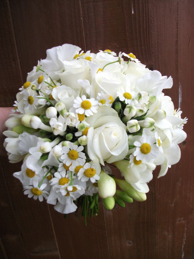 White lisianthus and camomile daisies with akito roses, freesia and bouvardia