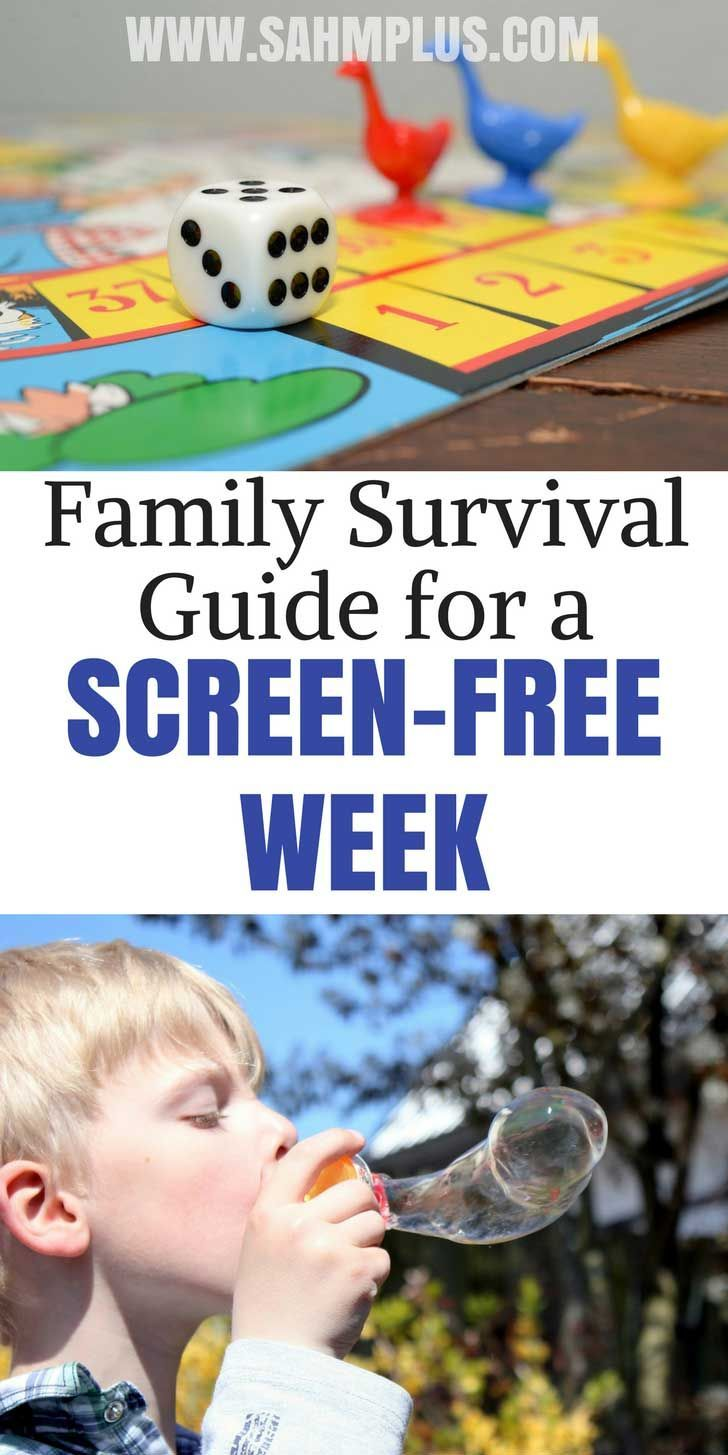 How to survive when kids unplug for screen-free week. The book Screen-Free Fun gives tons of screen-free activities and ideas to help you, plus other ways to stay sane | #screenfreeweek #screenfree #parenting #kids #activities #family #noelectronics #play www.sahmplus.com