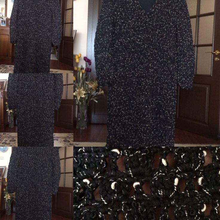 Tığ işi elbise / astarlı / takma kol