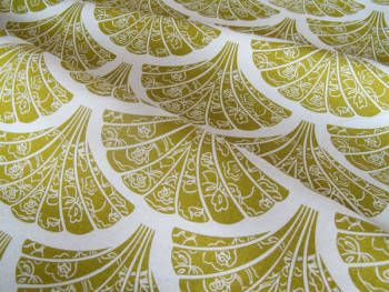 Fabric 'Lace fans in olive on cream' by Tegan Rose (AUS). We sew it into roman blinds, lamp shades etc.
