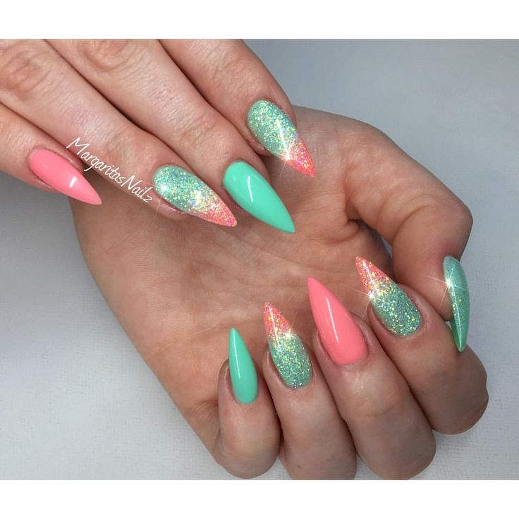 Coral and mint stiletto nails  spring nail art 2016