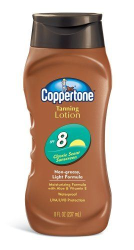 Coppertone Tanning Lotion, Non-greasy, Light Formula, SPF 8, 8-Fluid Ounce) by Coppertone. $7.42. Non-greasy-easy formula. Moisturizing with aloe and vitamin-E. 'Non-greasy, light formula. Sunscreen lotion. UVA/UVB protection. Waterproof. Moisturizing with Aloe and Vitamin E. Fast-absorbing. Coppertone SPF 8 Sunscreen Lotion provides Coppertone certified SPF protection from the sun's damaging UVA/UVB rays. This lightweight fast-absorbing lotion leaves no greasy res...