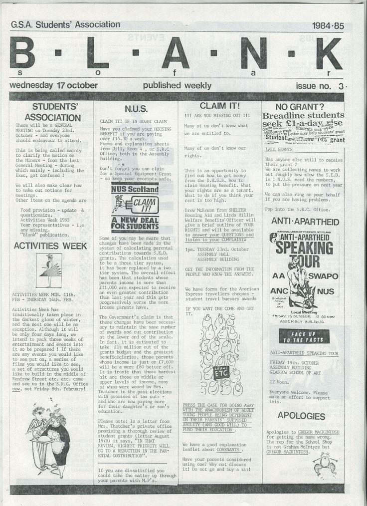 Archive reference: DC/9/4/1 Page 1 of BLANK, Issue 3, student newsletter published by SRC, 1984-5