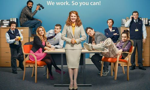 The Job Lot. Image shows from L to R: Janette (Angela Curran), George (Adeel Akhtar), Natalie (Laura Aikman), Karl (Russell Tovey), Trish (Sarah Hadland), Graham (Tony Maudsley), Angela (Jo Enright), Bryony (Sophie McShera), Paul (Martin Marquez). Copyright: Big Talk Productions.