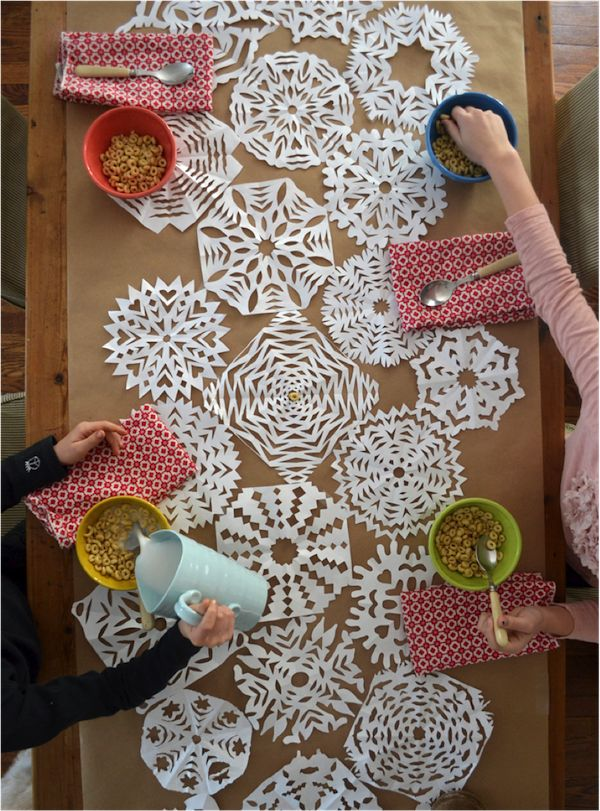 a snowflake table runner