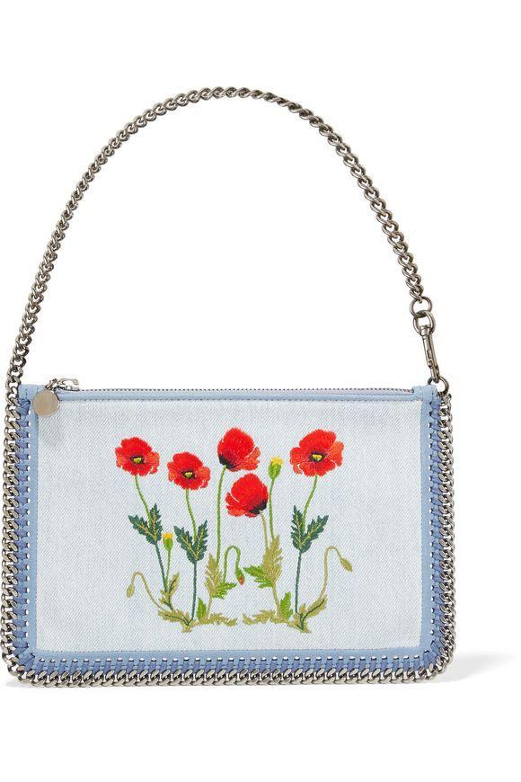Faux suede-trimmed embroidered denim shoulder bag | STELLA McCARTNEY | Sale up to 70% off | THE OUTNET