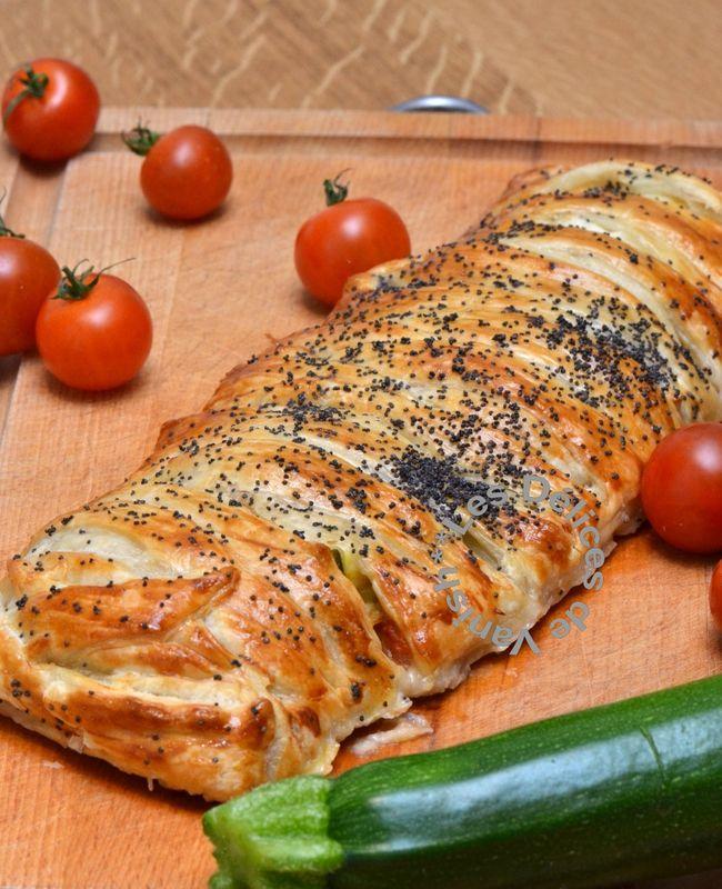 Les recettes - Tresse feuilletée aux courgettes, tomates cerises, jambon cru et mozzarella.