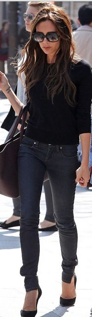 Purse and jeans – Victoria Beckham Collection  Shoes – Casadei