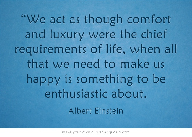 """We act as though comfort and luxury were the chief requirements..."