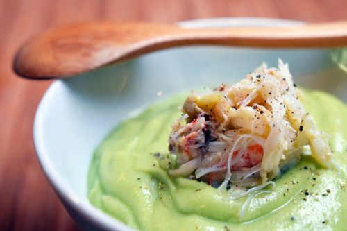 Chilled Cream of Avocado Soup with Dungeness Crab