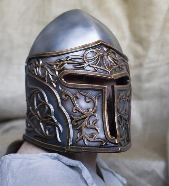 LARP prop helmet Full head armor Knight warrior cosplay costume Face helm Fantasy Armor Paladin helmet