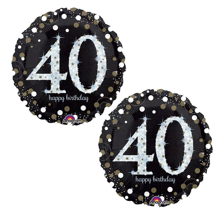 """Happy 40th Birthday Party Foil 18"""" Balloons - Black, Gold and Silver (2 Pack)"""