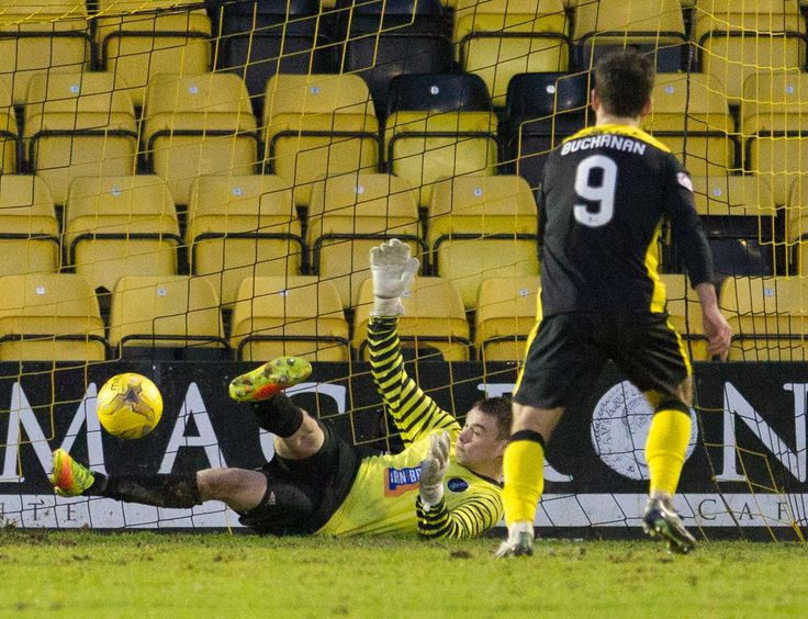 Queen's Park's keeper Wullie Muir saves the penalty during the Ladbrokes League One game between Livingston and Queen's Park.