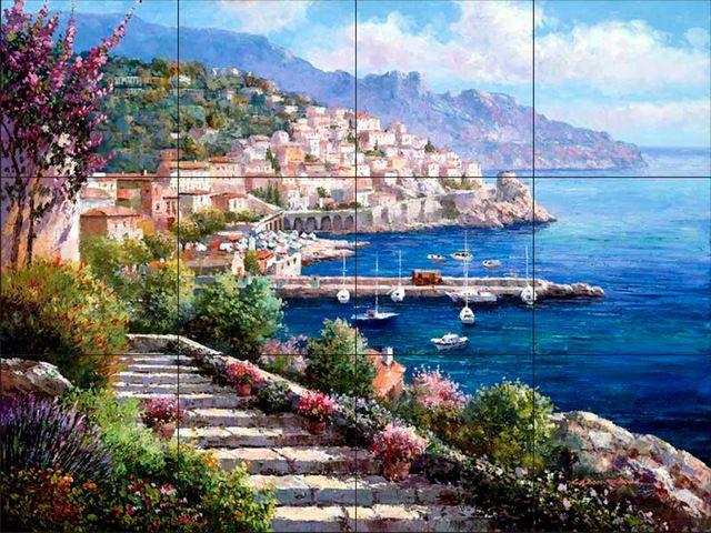 Tile Mural - Amalfi Coast - Kitchen Backsplash Ideas traditional-tile