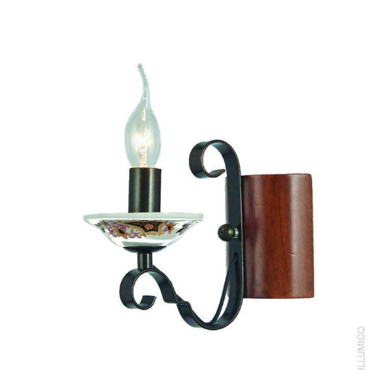Небольшой настенный светильник Illumico Veneto в стиле флористика. IL8929-1WA-51 BN RD http://illumico-shop.ru/bra/nastenniy-svetilnik-illumico-veneto-1wa-bn-rd/