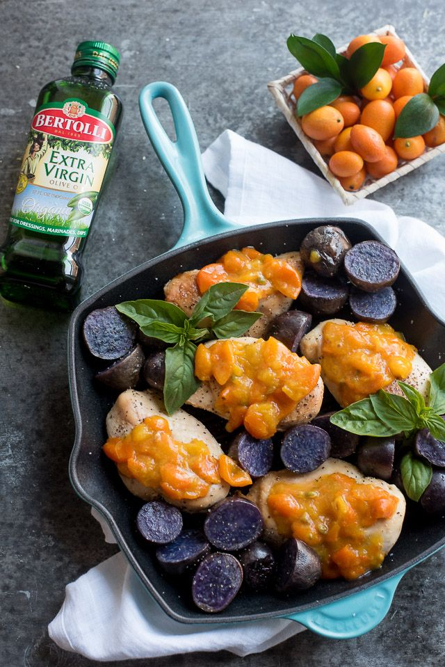 Kumquat Chicken Skillet  This easy kumquat chicken skillet is a simple and quick dinner that is full of gorgeous colors. Just six simple ingredients and dinner is served! In collaboration with @Bertolli