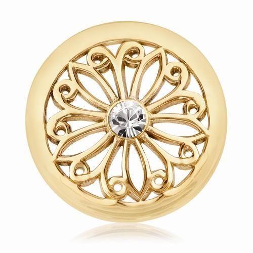 NEW NIKKI LISSONI GOLD TONE 23.6mm CLEAR SWAROVSKI ORIENTAL FLOWER COIN 6.5g #NikkiLissoni