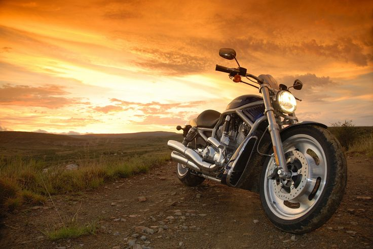 Photography - dramatic Harley-Davidson V-Rod sunset