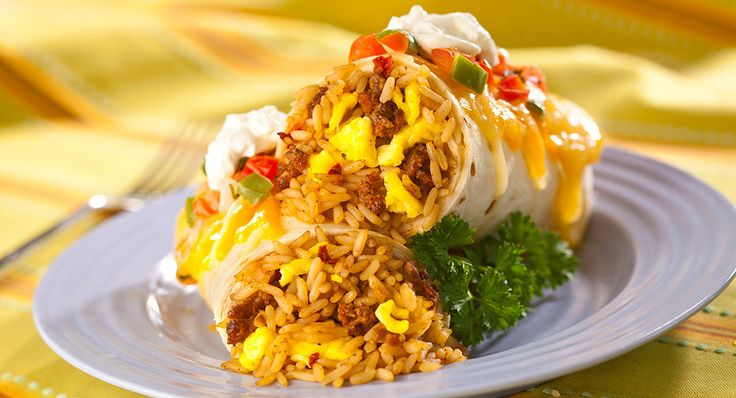 Craving a Mexican dish? Try this dirty rice, egg and chorizo burrito recipe for any time of day – breakfast, lunch or dinner.