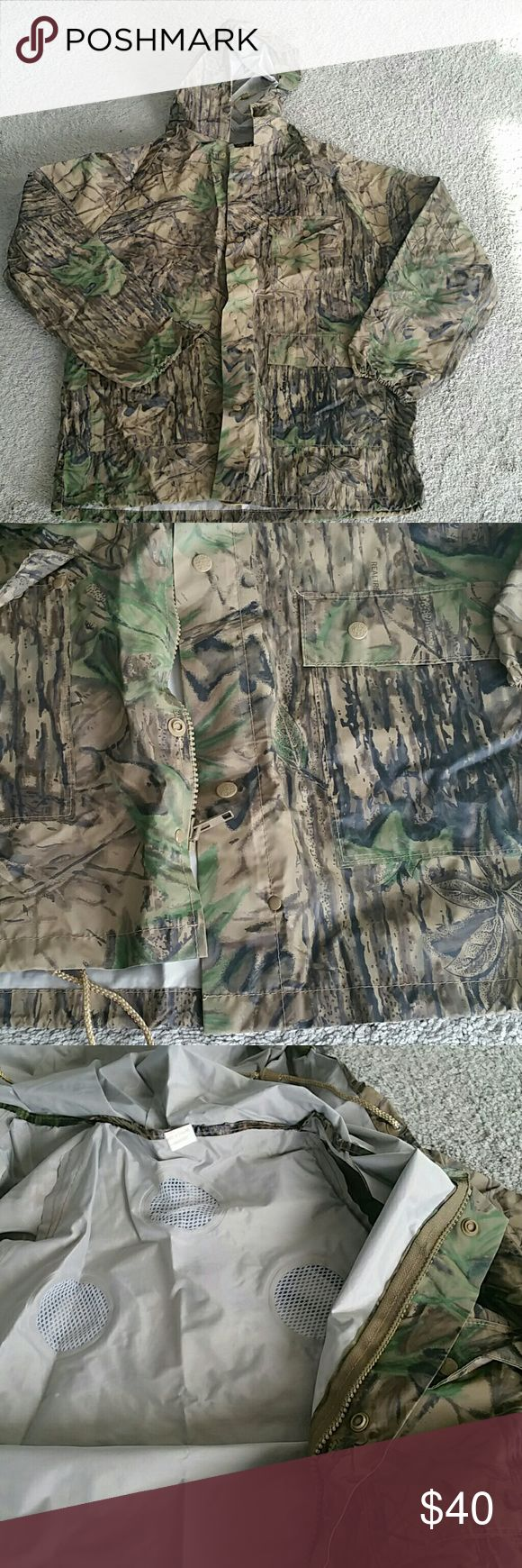 Waterproof,  Real Tree Camouflage hooded jacket Vinyl with vents,  3-pockets, zipper and snaps,  like new! Dry Wear Jackets & Coats Military & Field