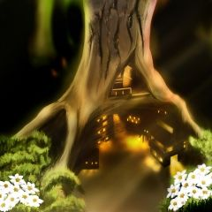 House in a Tree #redrawkeyboard Fantasy Wallpaper - for android phones