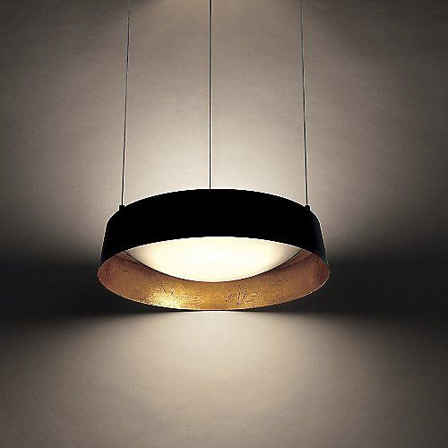 The modern forms gilt led pendant features a smooth drum