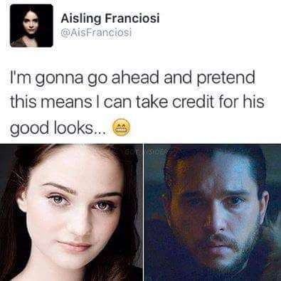 Aisling Franciosi (who plays Lyanna Stark) tweeted this