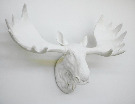 Ivory Moose Head Faux Taxidermy Wall Mounted Moose
