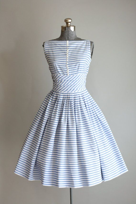 Vintage 1950s Jonathan Logan Blue Striped Dress