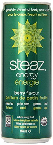 Steaz Organic Energy Drink, Berry, 12 Ounce (Pack of 8) * Learn more by visiting the image link.