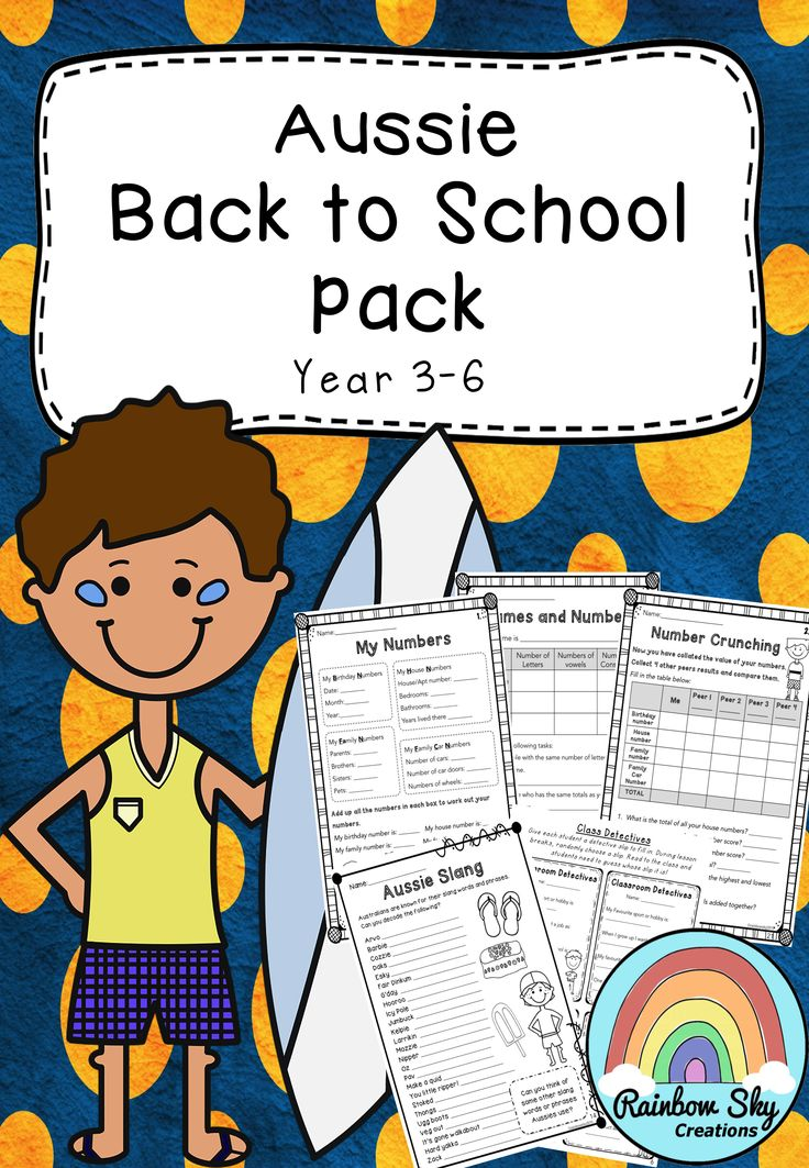 Aussie Back to School Pack  - Suitable for Year 3 -6. Includes our Australia Day Code Cracker. ~Rainbow Sky Creations ~
