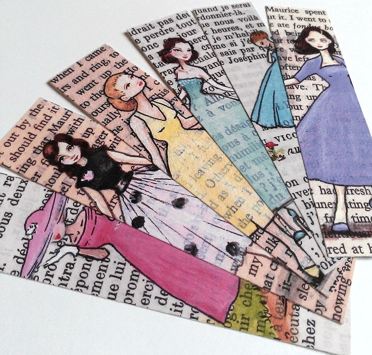 French Literature Bookmarks painted on vintage book pages - ©Jess Purser: Castle On The Hill (via Etsy)