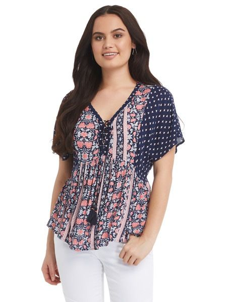 028cbe59e3a This short-sleeve top features a blue and coral scarf print