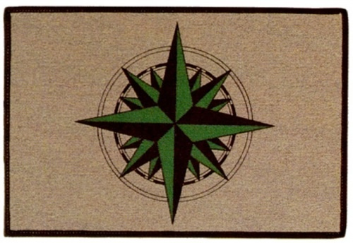 Compass Rose Doormat is available with a green compass rose, or tan compass rose. Carpet-style rug keeps your beach home clean with classic nautical style.