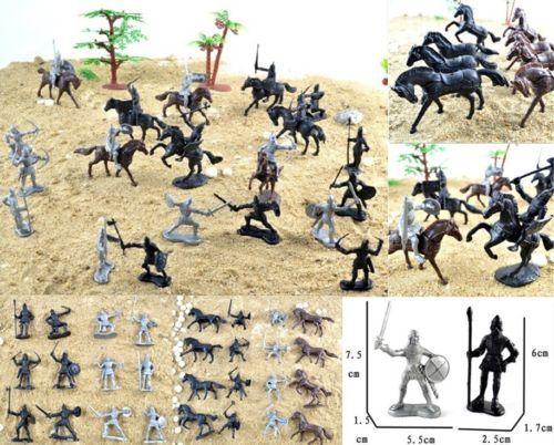28 piezas de Caballeros Guerreros caballos Medieval Soldados De Juguete Figuras Conjunto de Juego
