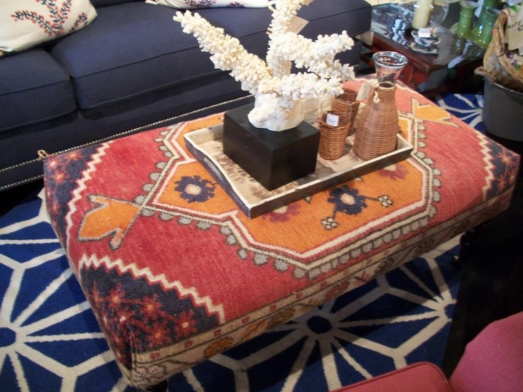 This is an example of the one-of-a-kind ottomans that CR Laine is making from vintage hand-tufted Turkish rugs. Image from Nell Hills in Kansas City, MO (www.nellhills.com)