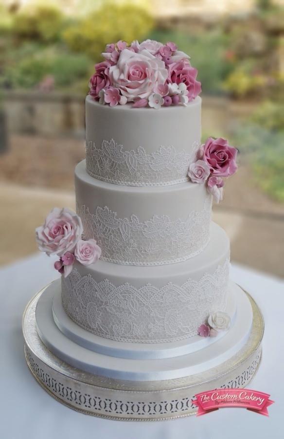 Rose Lace and Grey Wedding Cake by The Custom Cakery - http://cakesdecor.com/cakes/212215-rose-lace-and-grey-wedding-cake
