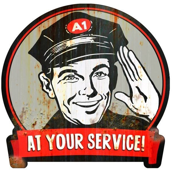 At your service a1 mechanic vintage garage weathered die cut metal sign 16 x 15