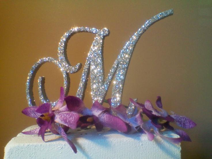 3d monogram wedding cake topper set of 2   silver glitter bling cake toppers  unique custom