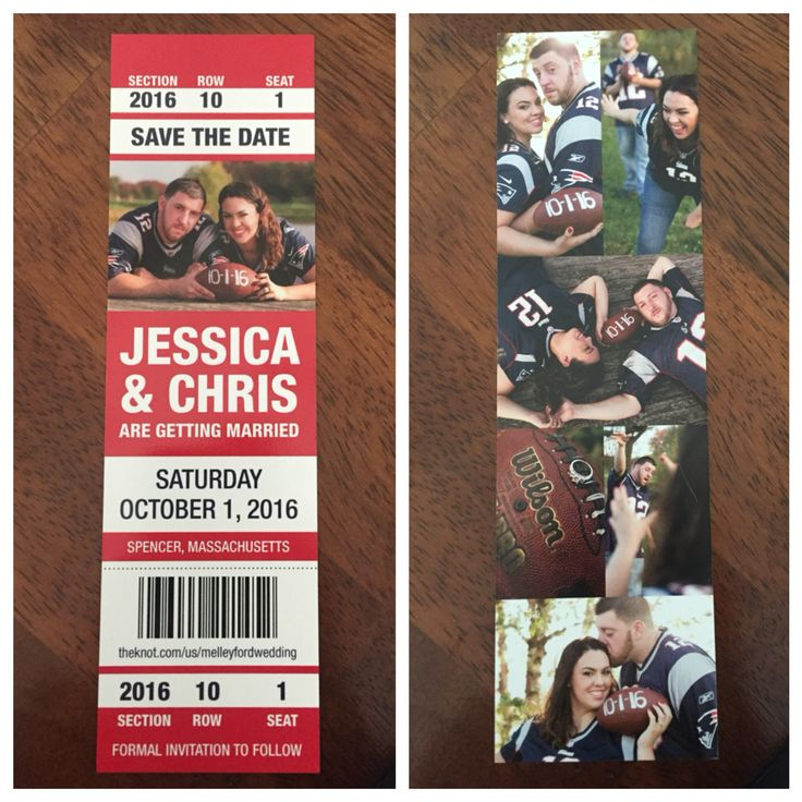 Our amazing save the date #football #savethedate #wedding #sports #gameticket