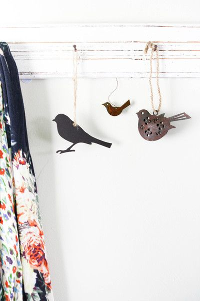 Tin Bird Ornaments
