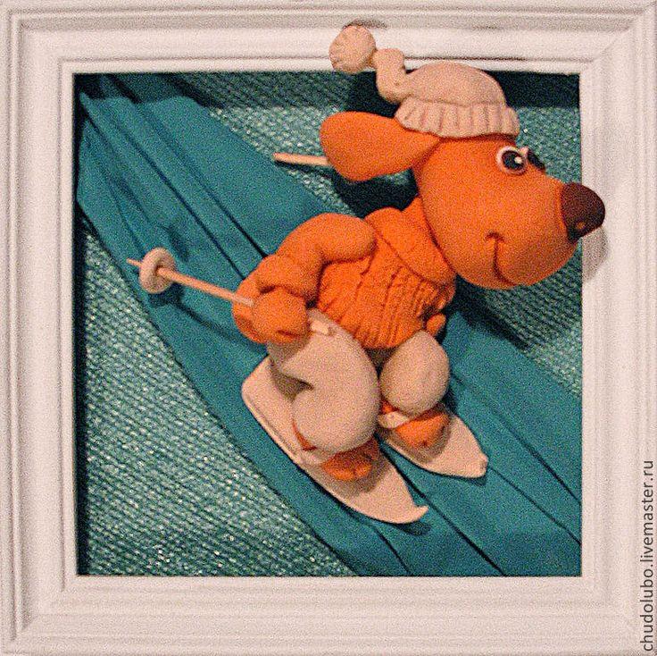 """Животные ручной работы. Ярмарка Мастеров - ручная работа панно """"Пес на лыжах . С горки -ух!"""". Handmade."""