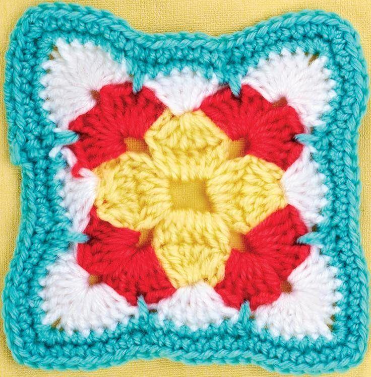 Wavy edge granny square - Free crochet pattern download