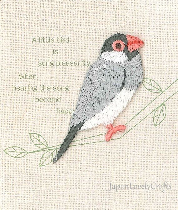 Java sparrow, Bird Patch, Cute Embroidered Iron On Patch, Japanese Colorful Iron on Applique, Made in Japan, Kawaii Embroidery Applique, JapanLovelyCrafts