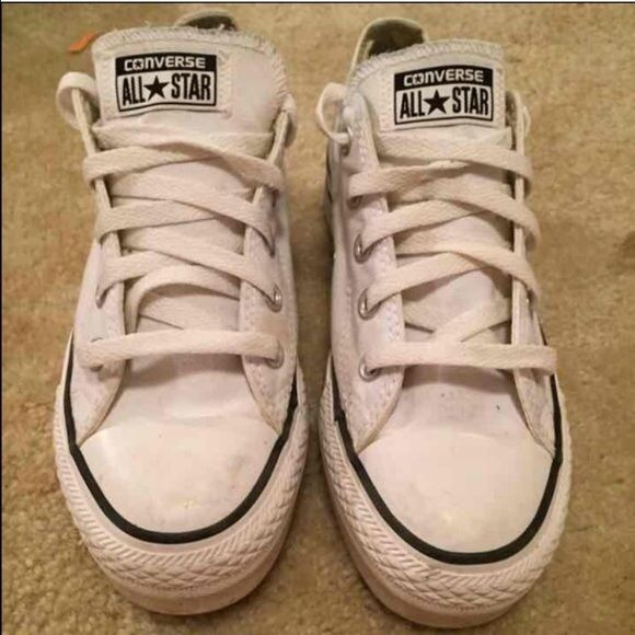 White platform converse Good condition white platform converse. Only worn once or twice. Comes with box and can be cleaned before sold. Were NOT already sold!! Converse Shoes Sneakers