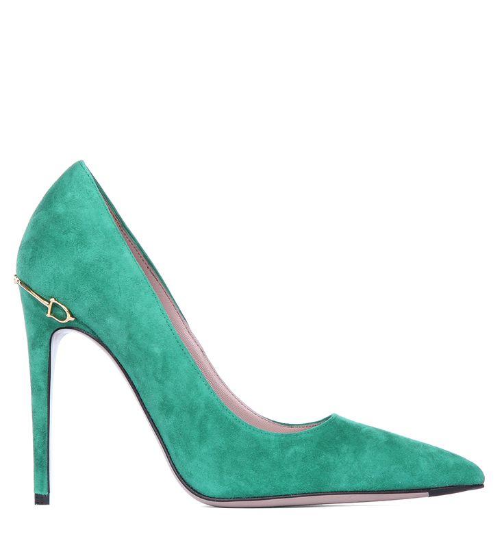 Замшевые туфли-лодочки Gucci