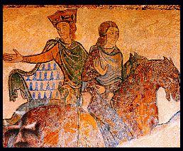 Eleonora d'Aquitania (Bordeaux,1122–Fontevrault,1204) fu Regina consorte di Francia dal 1137 al 1152 e poi d'Inghilterra dal 1154 al 1189. Fu anche una mecenate dei trovatori, poeti-musicisti che usavano la lingua d'oc, la loro poesia è detta cortese. Tra i suoi figli: Riccardo Cuor di Leone; Giovanni senza terra, che concesse la Magna Charta Libertatum - Eleonora d'Aquitania a cavallo in un affresco della Cappella di SAnta Radegonda, Chinon Francia