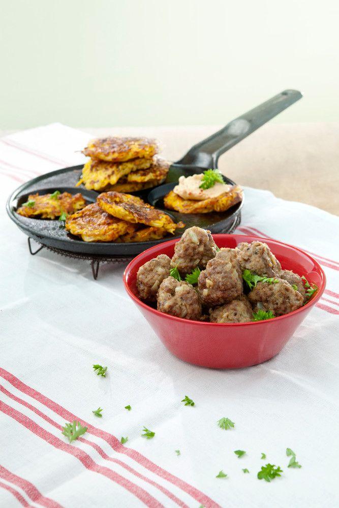 Peruna-porkkanaröstit ja lihapullat